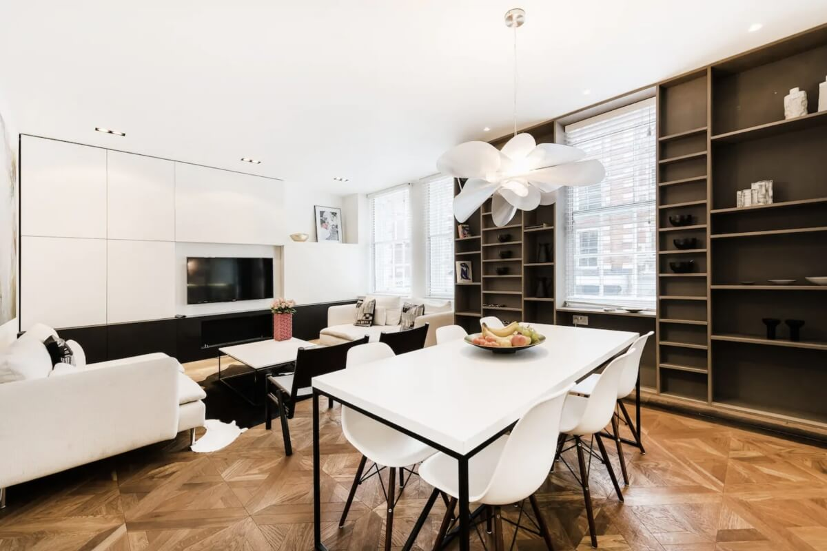 modern interior in london airbnb with blacks and whites