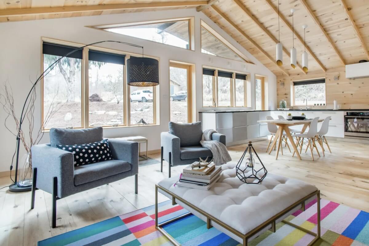 modern cabin interior in airbnb in asheville