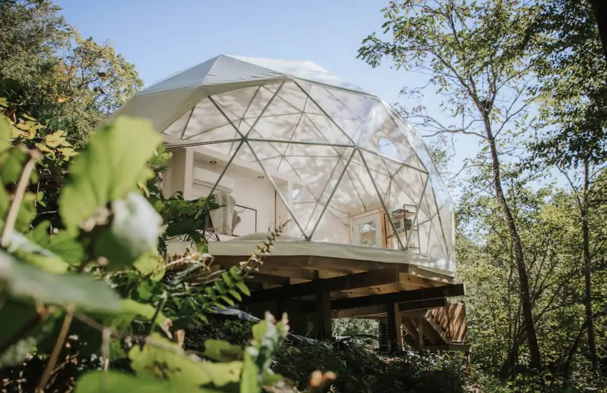 glamping dome in the woods that serves as one of the best airbnbs in asheville north carolina