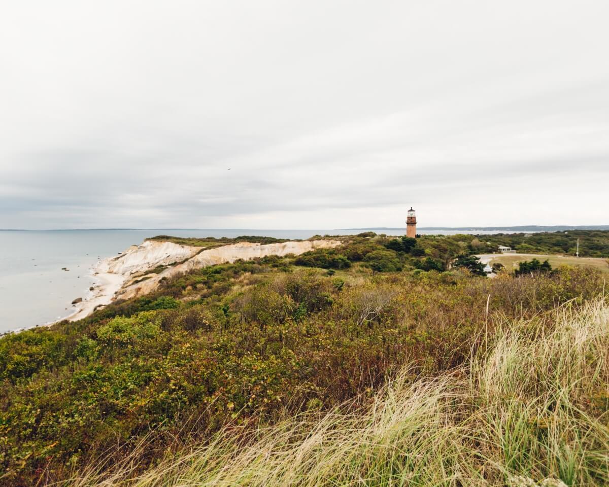 gay head lighthouse over cliffs at aquinnah martha's vineyard travel guide