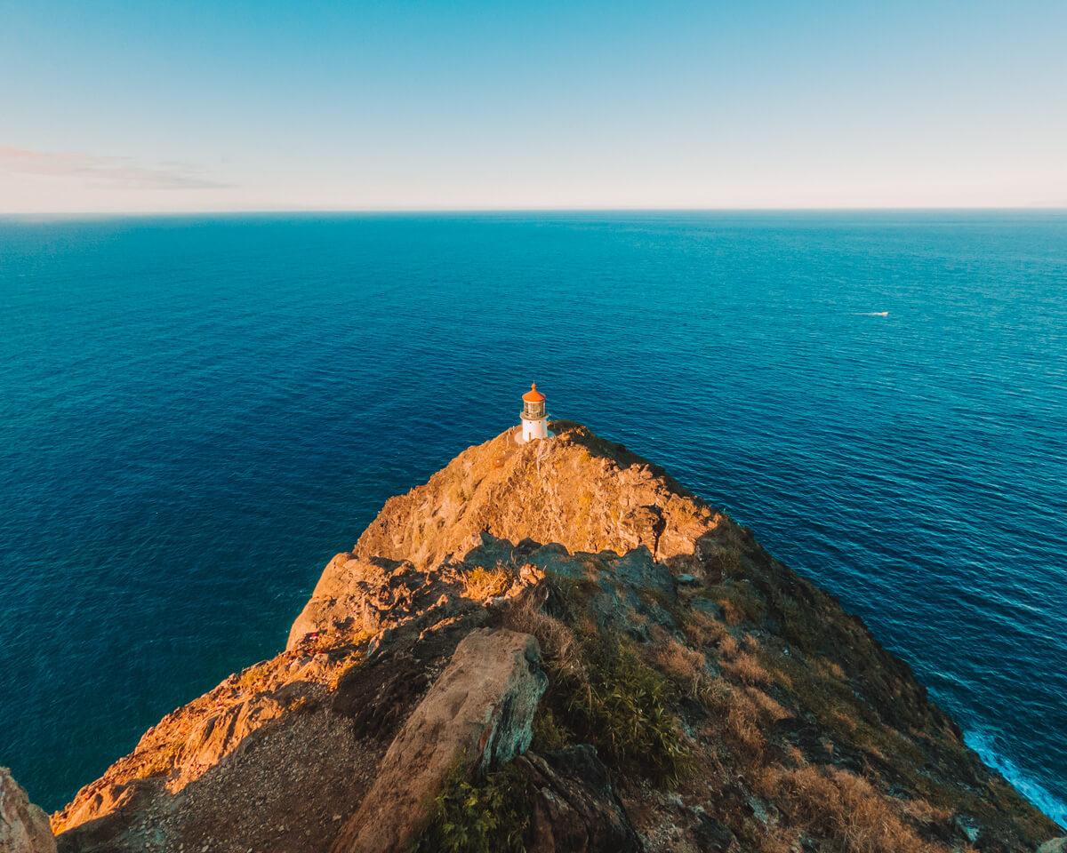 view of the makapuu lighthouse in oahu hawaii