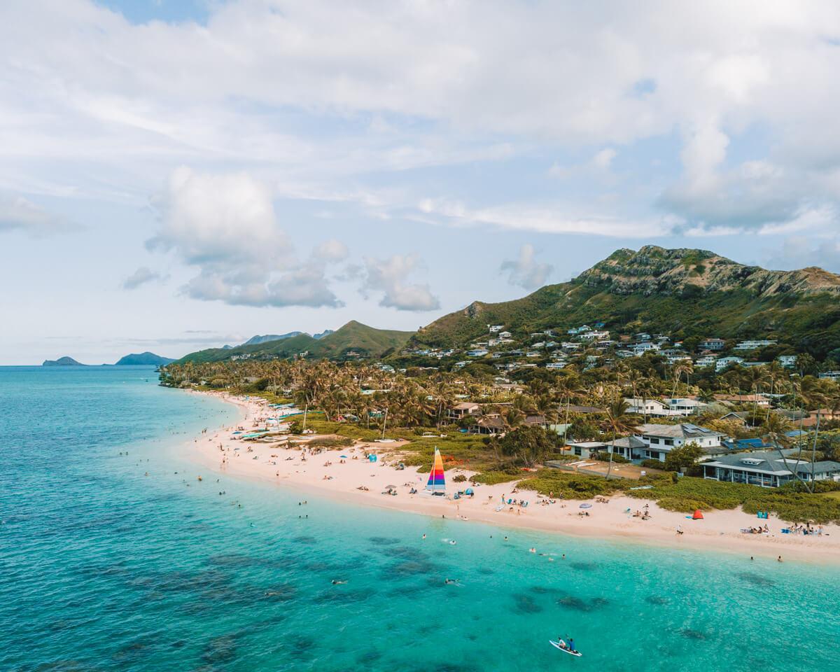 drone photo of lanikai beach on the east end of oahu hawaii