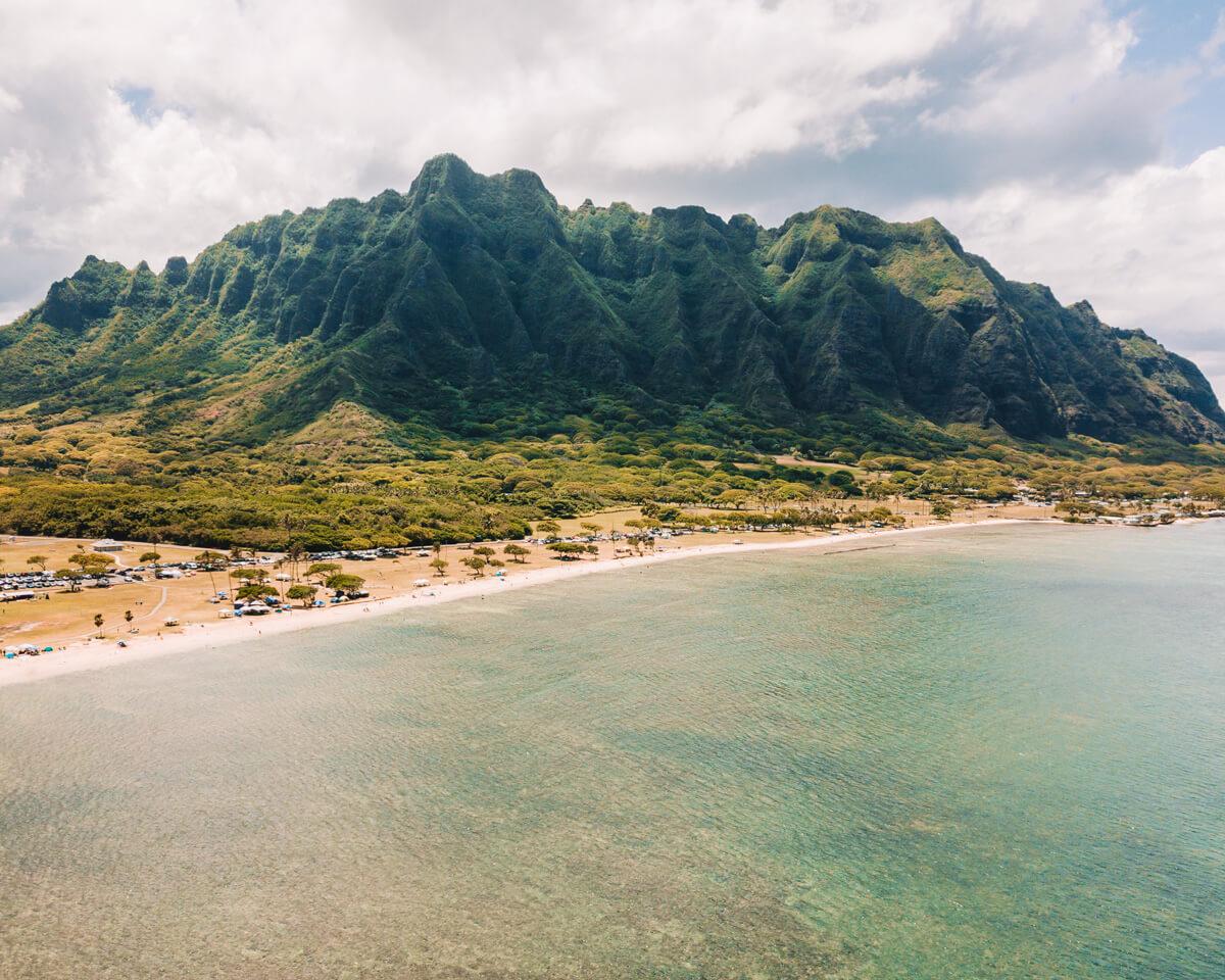 drone photo of the beach near kualoa regional park in oahu hawaii