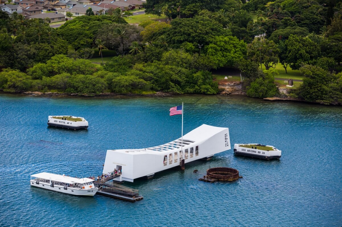 aerial view of the uss arizona memorial at pearl harbor which is one of the best things to do in oahu hawaii