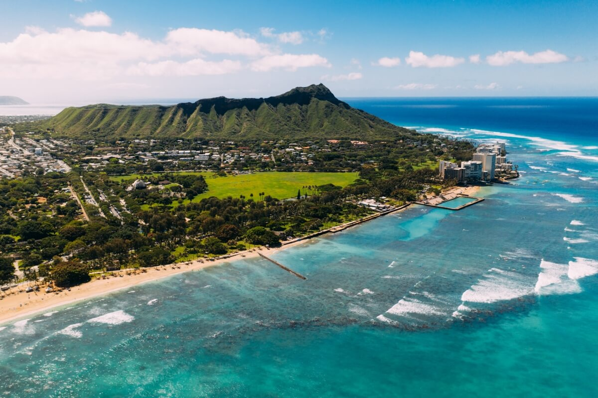 aerial view of waikiki and diamond head in oahu hawaii