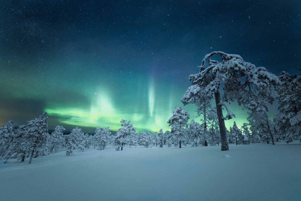 northern lights in lapland finland, one of the best december honeymoon destinations